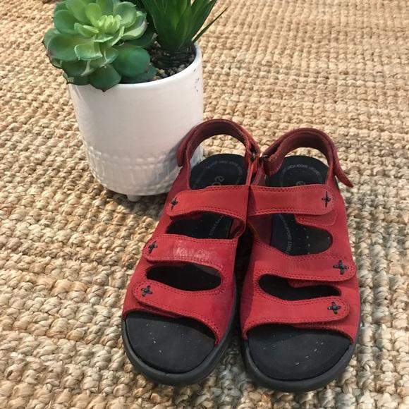 865e5661971f Ecco Shoes - Ecco Babett Sandals Three Strap Red Suede Women s